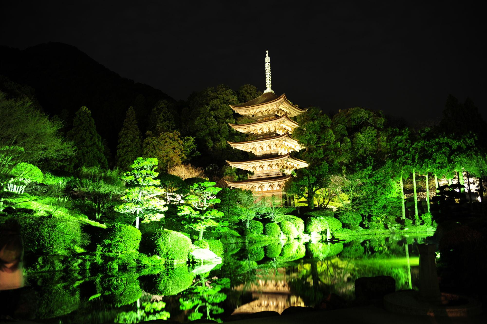 ライトアップされた瑠璃光寺の五重塔